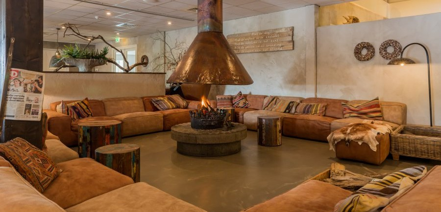 Stay warm at our fireplace...