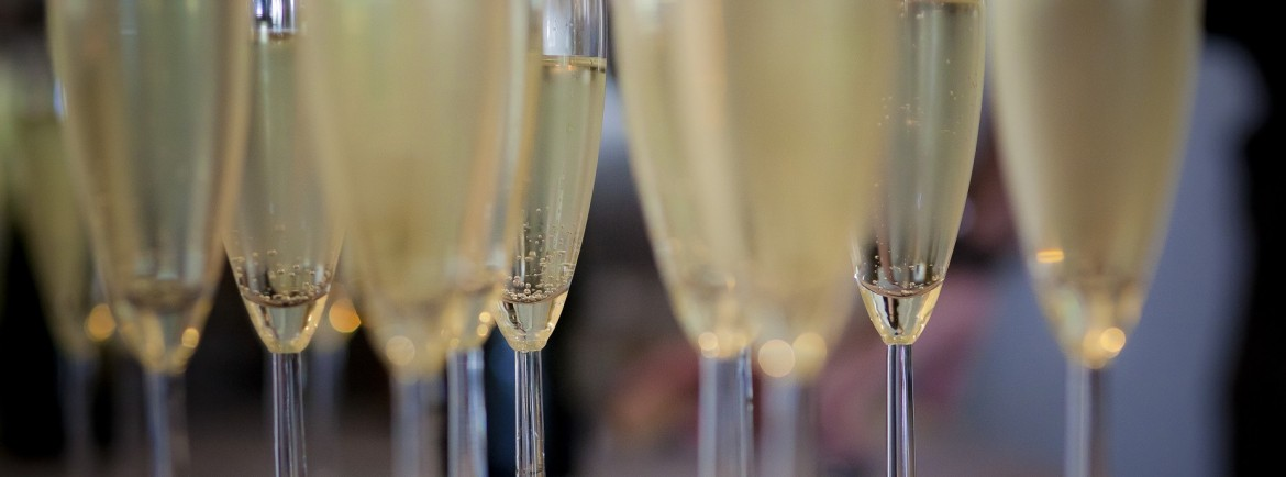 Toasting with prosecco or champagne...