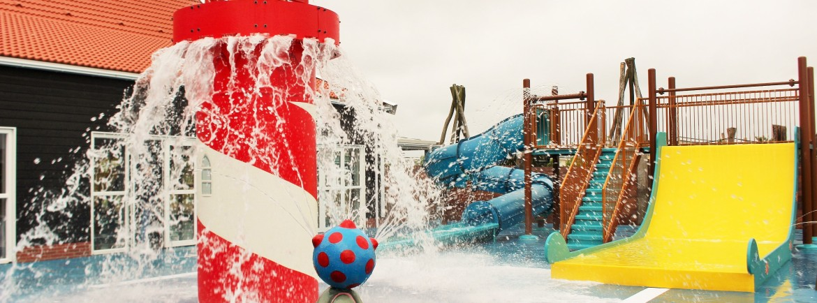 Outdoor waterpark with slides